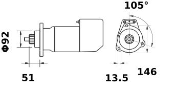 Стартер AZK5491 (MS 489, 11.139.144, IMS309144) - схема