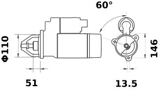Стартер AZJ3452 (IS9149) - схема
