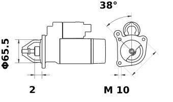 Стартер AZD3514 (MS 39, 11.139.403, IMS309403) - схема
