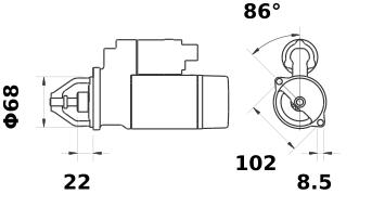 Стартер AZE2205 (MS 120, 11.139.434, IMS309434) - схема