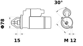 Стартер AZE2207 (MS 122, 11.139.436, IMS309436) - схема