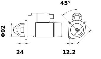 Стартер AZE4143 (MS 12, 11.139.444, IMS309444) - схема