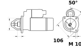 Стартер AZE1245 (MS 80, 11.139.450, IMS309450) - схема