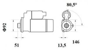 Стартер AZF4874 (MS 755, 11.139.602, IMS309602) - схема
