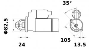 Стартер AZE4285 (MS 725, 11.132.389, IMS302389) - схема