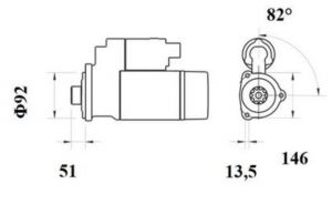 Стартер AZE4692 (MS 776, 11.139.620, IMS309620) - схема