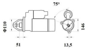 Стартер AZF4405 (MS 767, 11.139.610, IMS309610) - схема